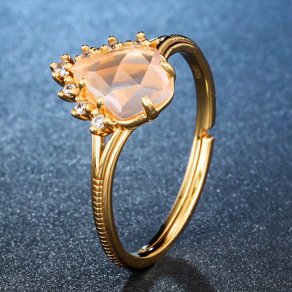 ALLNOEL 925 Sterling Silver Rings For Women 100% Natural Rose Quartz 9K Real Gold Plated Fine Jewlery Adjustable Ring (5)