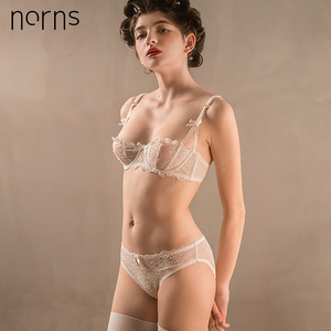 Image 1 - Norns Ultrathin Bra set Plus Size Sexy Bras Lace Lingerie Set Female Transparent Women Underwear Bra 1/2 Cup Pink Embroidery