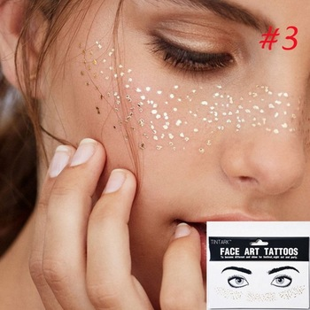 1pack Gold Face Tattoo Flash tattoo Fashion Waterproof Blocked Freckles Make Up Body Art Stickers eye decals Bride tribe party