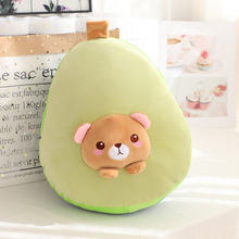 High Quality 3 in 1 Avocado Plush toy Stuffed Brown Bear Toy in Avocado Pillow with Coral fleece Blanket side School Nap Pillow
