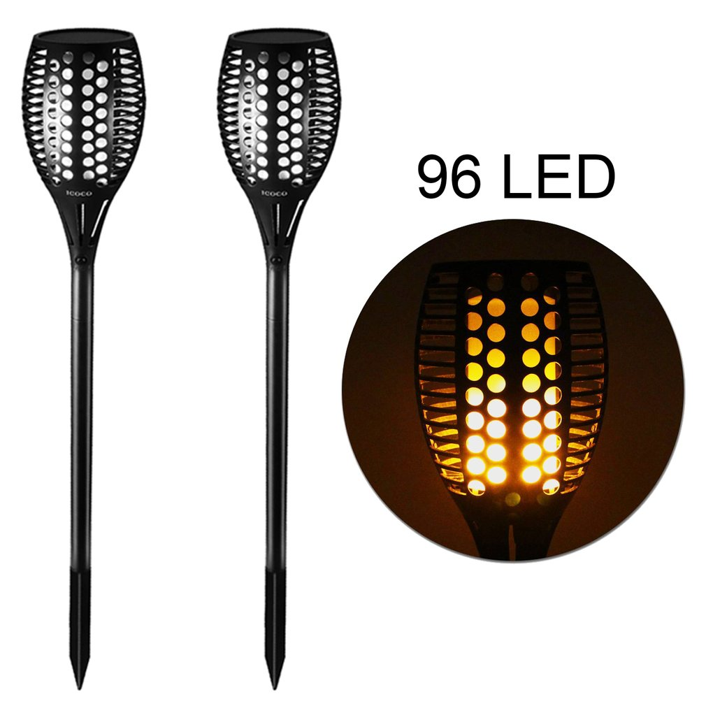 2Pcs/set 96 LED Solar Flickering Landscape Decor Lamp Outdoor Garden Path Lawn Torches Light Waterproof Over Charging Protection   - title=