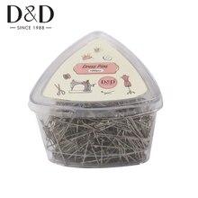 D & D 1000pcs 스테인레스 스틸 스트레이트 핀 31mm Dressmaker 핀 퀼트 Applique 바느질 바늘 재봉 액세서리