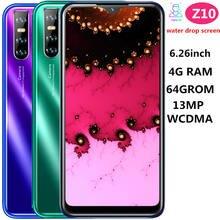 Z10 global quad core tela gota de água smartphones 4g ram 64g rom 13mp 6.26