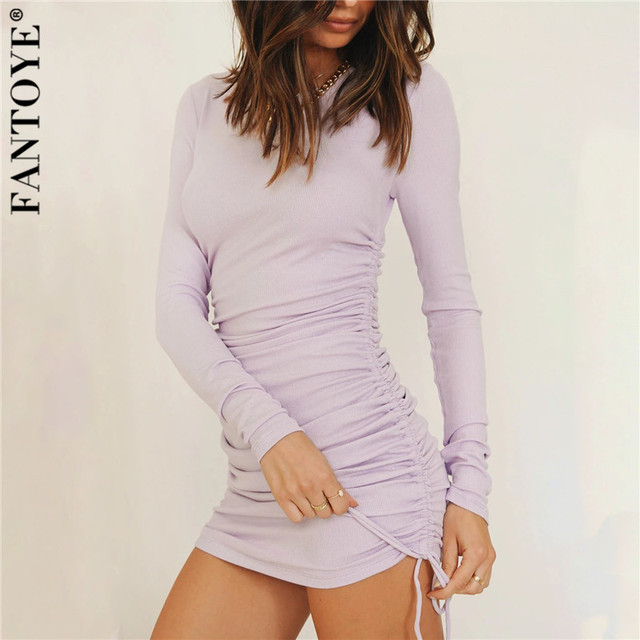 FANTOYE Cotton Full Sleeve Dress 2020 Autumn New Women Fold Ruched Drawstring Slim Mini Dress Casual Streetwear O-Neck Dresses 5