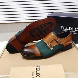 Image 2 - رجل أكسفورد أحذية جلد طبيعي جلد الغزال حذاء كاجوال كاب تو مزدوجة مشبك الراهب حزام فستان كلاسيكي أحذية الأخضر براون أحذية الرجال