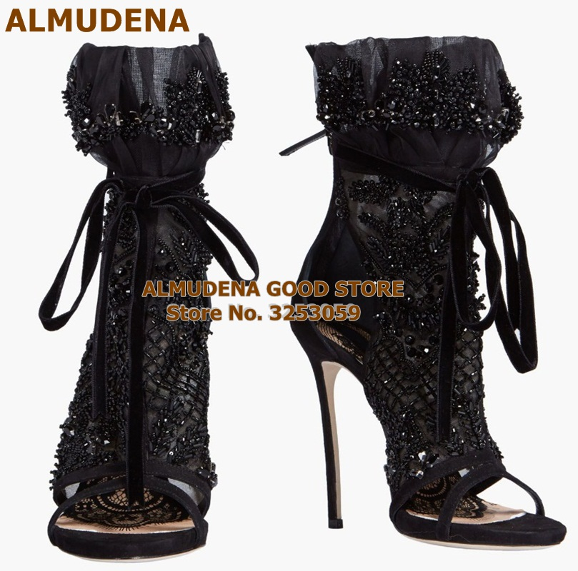 Young Girls Luxury Brand Black Lace-up Mesch Sandal Boots Peep Toe String Beaded Sandals Stiletto Heel Lace Wedding Shoes Bootie(China)