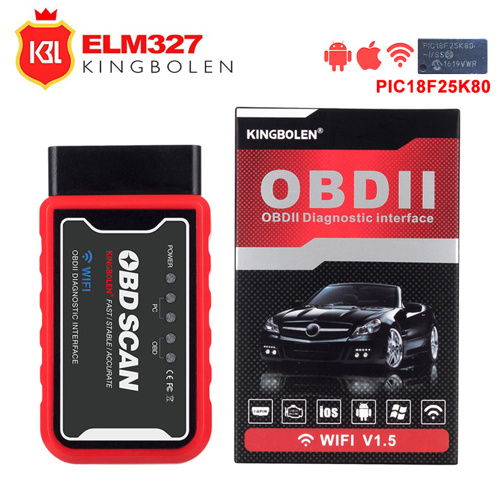 OBD2 Car Diagnostic Tool ELM327 Wifi/Bluetooth For IOS/Android/Symbian For OBDII Protocol With PIC18F25K80 Chip OBDII Scanner