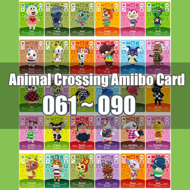 Animal Crossing Amiibo Card Animal Crossing New Horizons Game NFC Lobo Card Work For NS 3DS Game Switch Series 1 (061-090)