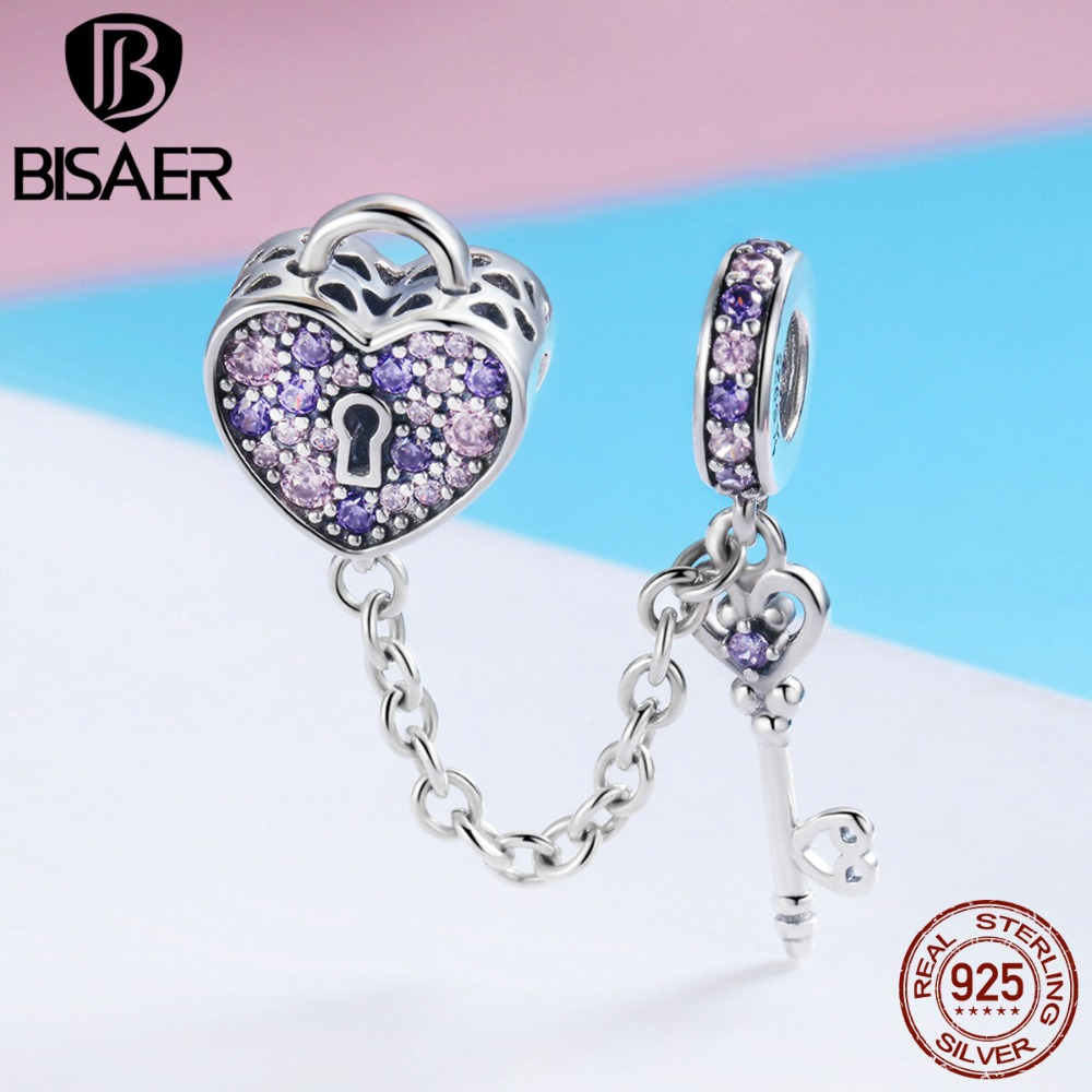 BISAER Real 925 Sterling Silver Key Lock Of Heart Charms Pink CZ Heart Beads Fit For Women Bracelet DIY Jewelry Making ECC772