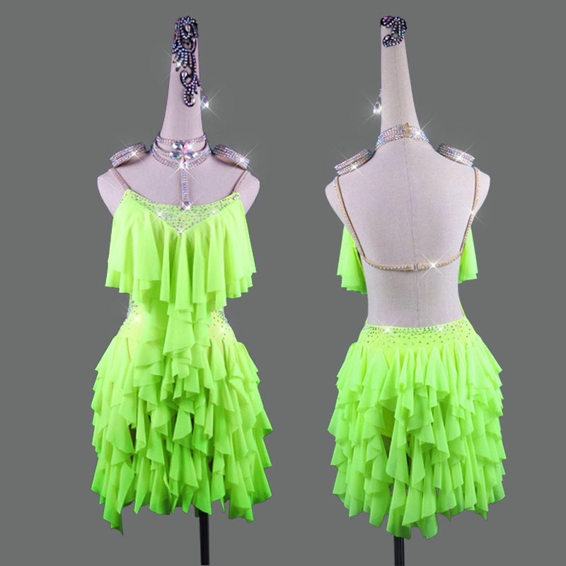 Rhinestone Latin Dance Dress Professional Competition Costumes Sexy Backless Fluorescent Green Fringed Skirt Women Stage Clothes