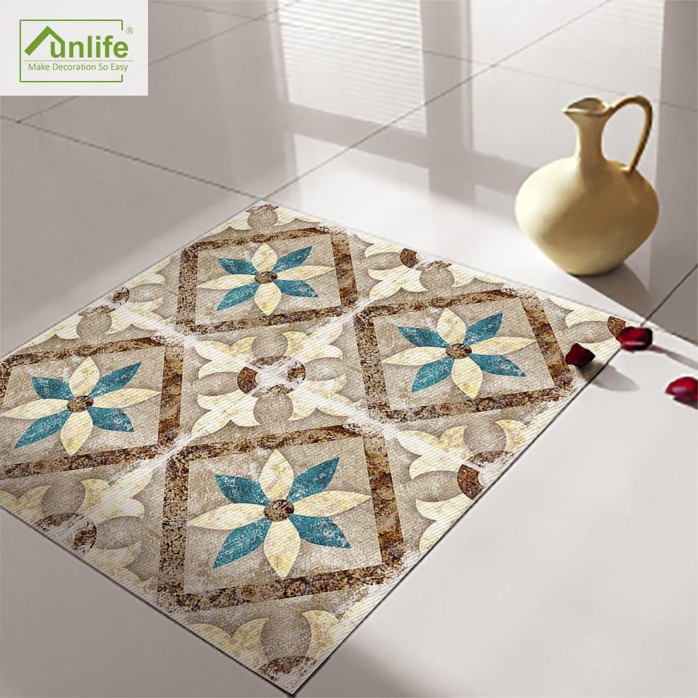 funlife retro morrocan style peel stick floor tile sticker waterproof for bathroom kitchen anti skid living room pvc floor decal
