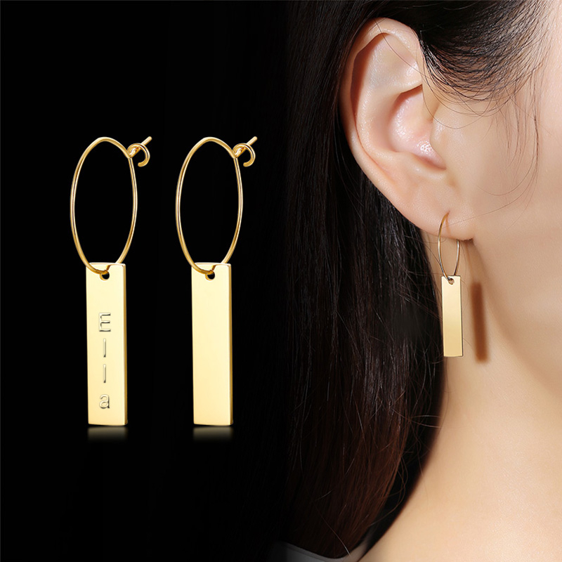 Vnox Custom Name Vertical Bar Dangle Earrings For Women Vintage Stainless Steel Drop Earrings Punk Jewelry