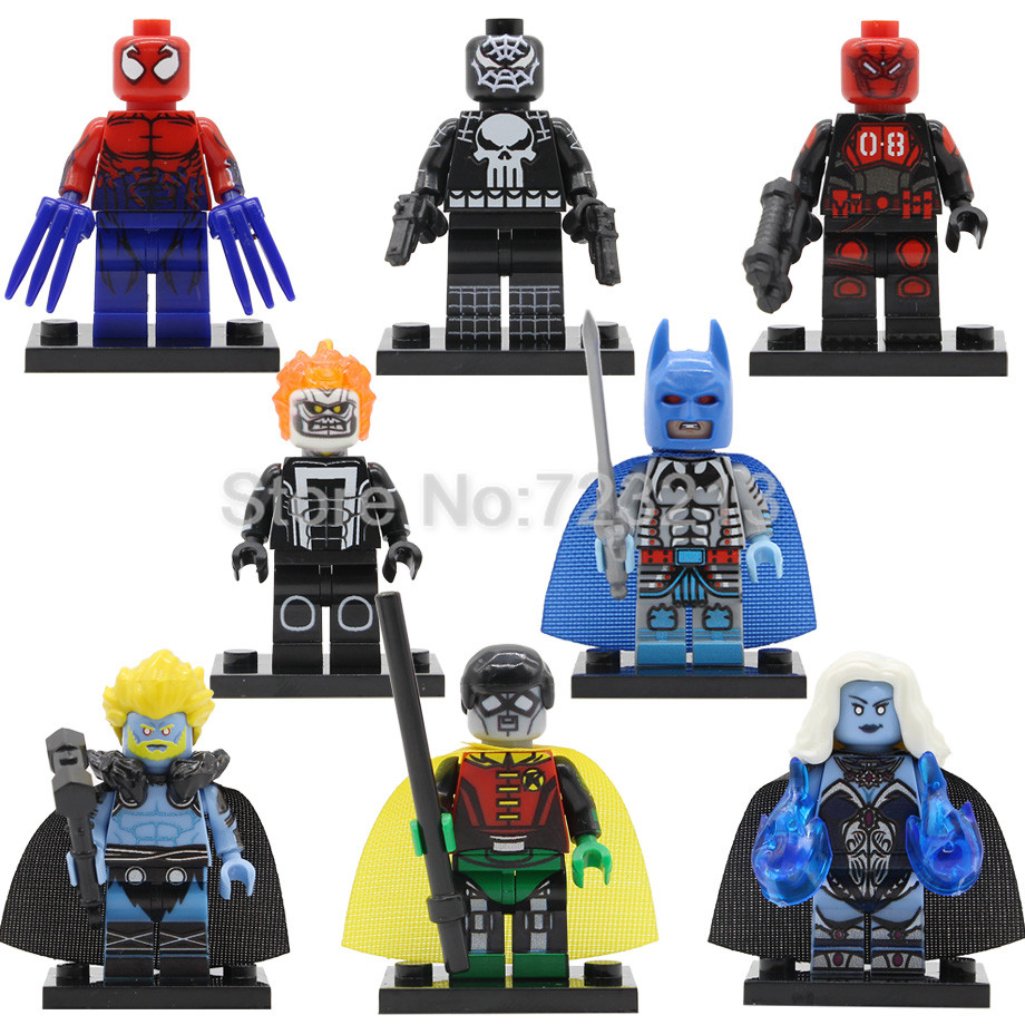 Super Hero Single Figure Mr.8 Killer Frost Thor Spider Punisher Toxin Ghost Rider Robin Robot Batman Buidling Blocks Toy Legoing