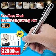 Mini caneta de gravação recarregável, 60w 32000rpm, moedor elétrico, lixadeira, gravador diy, ferramenta de esculpir, acessórios