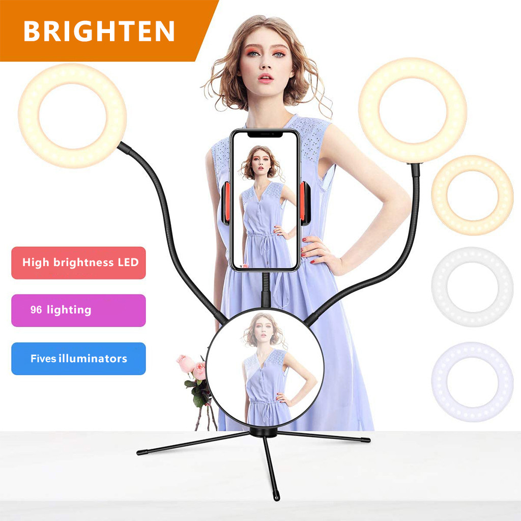 LED Selfie Ring Light with mirror Cell Phone Holder Stand for Live Stream Makeup