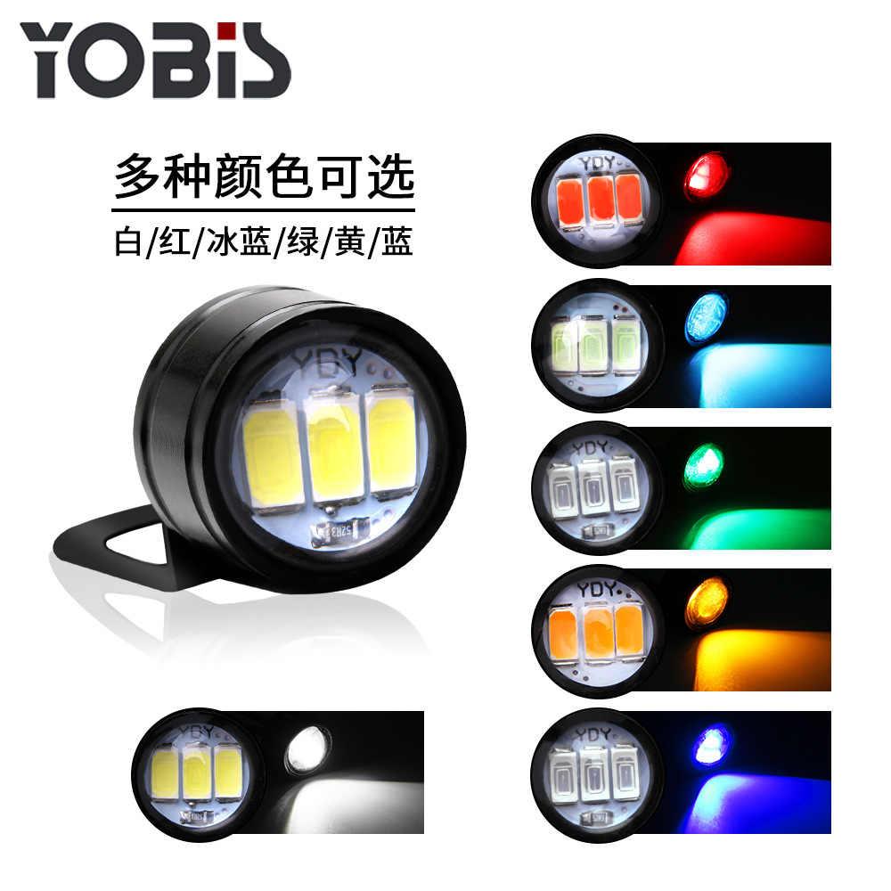 2 Pcs Motor Hawk-Eye Lampu Hantu Api Lampu Modifikasi Informasi Komponen Hawk Pedal LED Cermin Flash Hooligan lampu