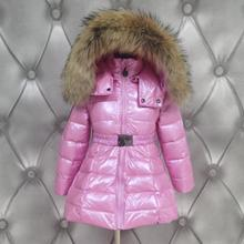 Russian winter girl and boys 99% White duck down jacket children thicken big real fur collar coats kids down outerwear -30degree