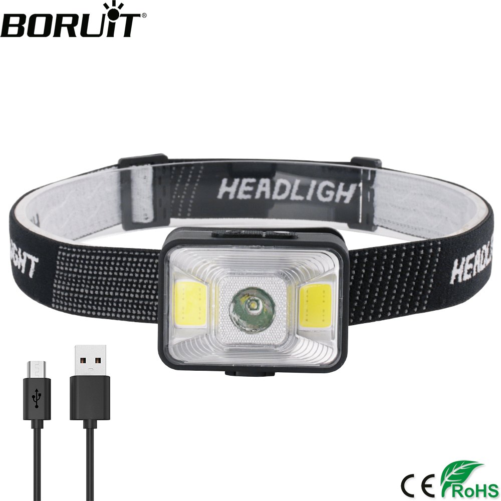 BORUiT YD-21 LED Mini Headlamp XPE COB Red Light 5-Mode Headlight Powerful 180LM Head Torch Waterproof Hunting Camping Light