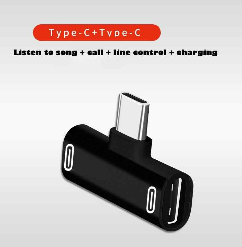 Dual Type C USB-C Earphone Adapter Headphone Audio Charging Charger Splitter Convertor for Xiaomi 6 8 Note3 Huawei Mate 10 P20