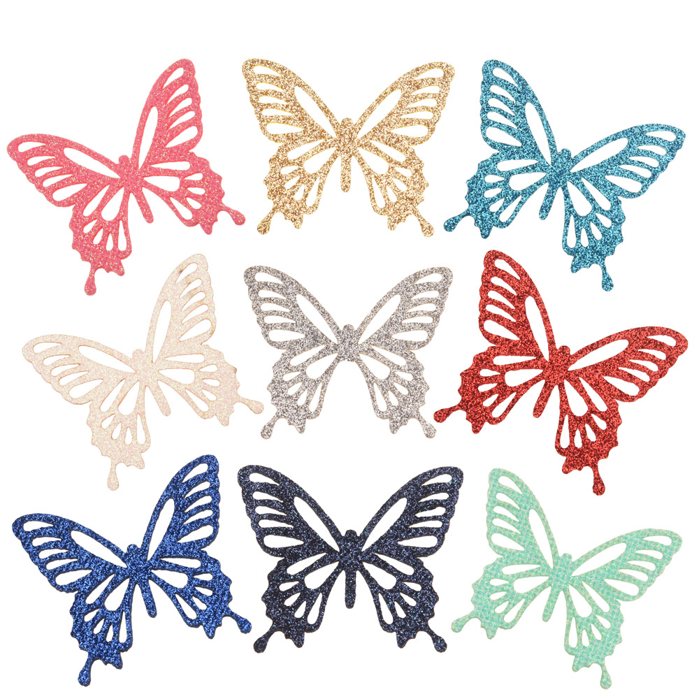 36PCS 2.2inch Hollow Butterfly Appliques Girls Hair Accessories  Boutique Headwrap For DIY Hair Bows  Barrette Accessory