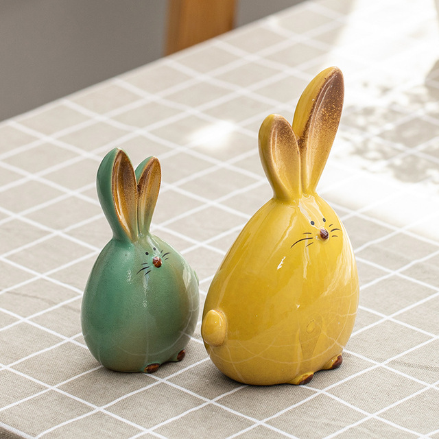 2PC Combination Nordic Style Cute Long Ear Rabbit Ceramic Decoration Cartoon Animals Figurines Ornaments Unique Home Decoration 2