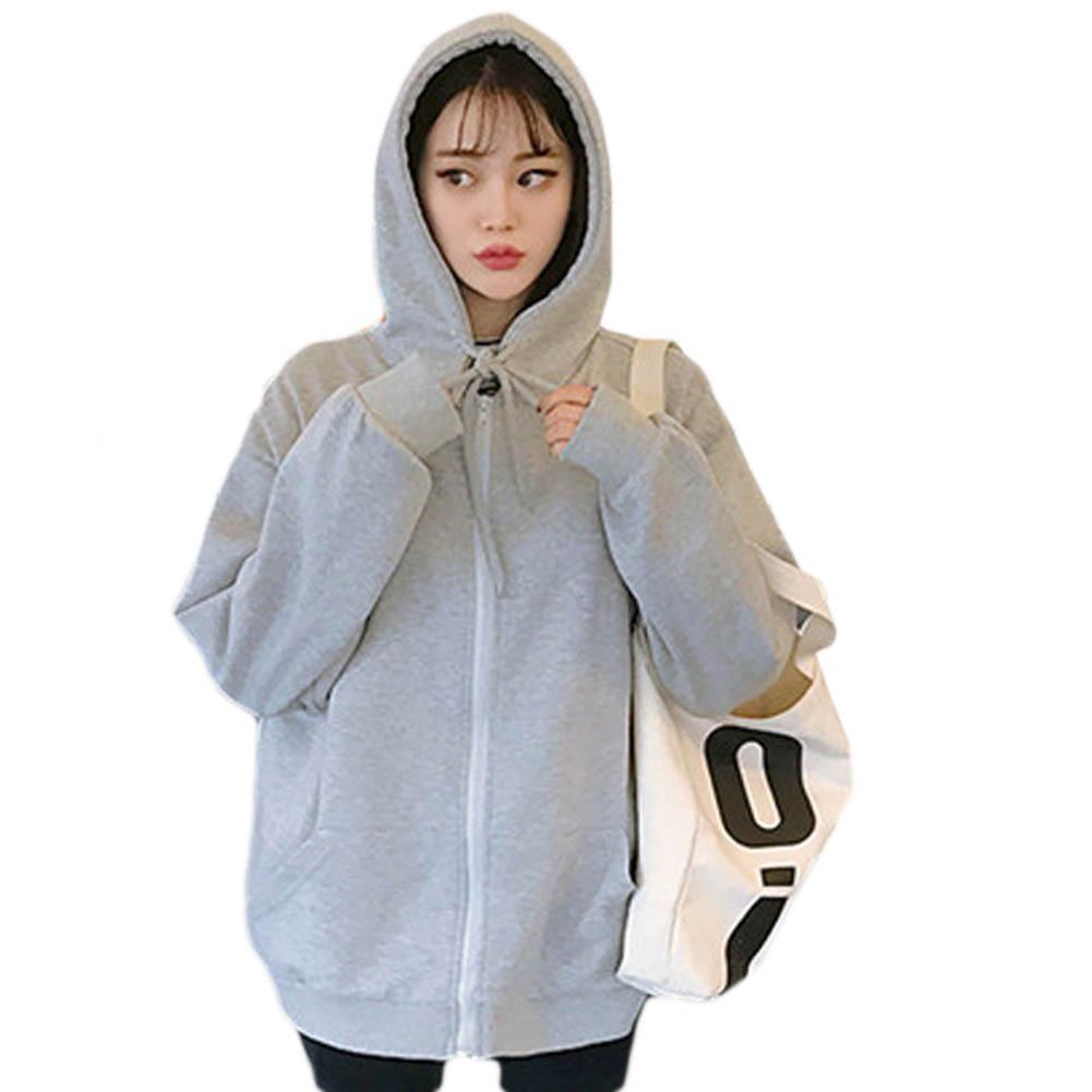 Hot Fashion Autumn Women Solid Color Drawstring Long Sleeve Zipper  Hoodie Sweatshirt Cotton Blend Women's Sweatshirt M-2XL