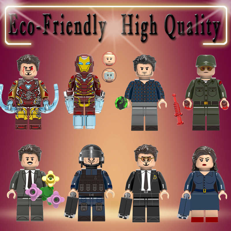 Super heróis HOMEM De Ferro Robert bruce banner Pepper potts Howard stark tony stark Steve rogers building blocks brinquedos presentes miúdo x0264