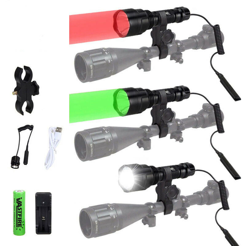 XM-L T6 Weapon Light 5000 Lumens Tactical LED White Hunting Flashlight+Rifle Scope Gun Mount+Remote Switch+18650+USB Charger