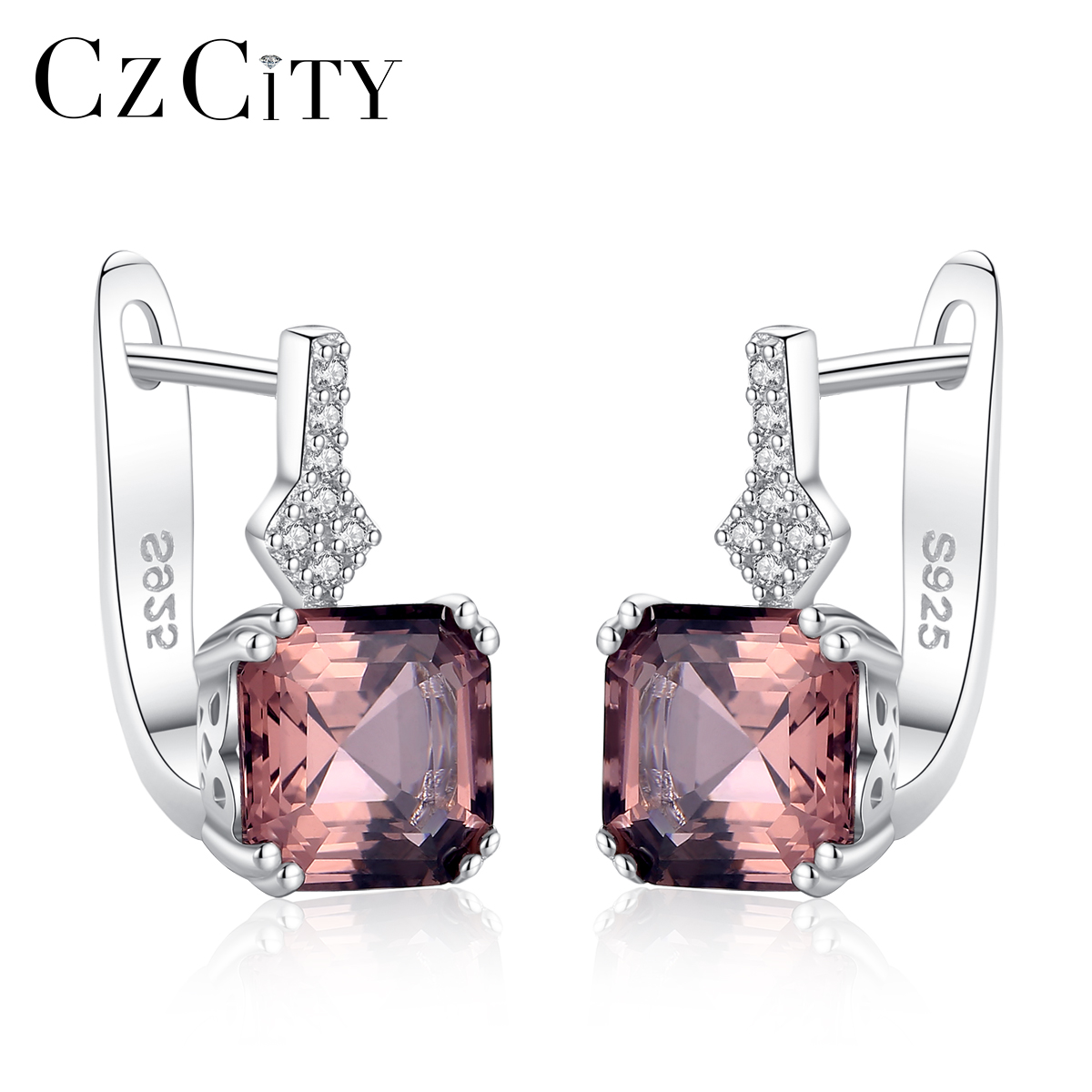 CZCITY New Brand Created Nano Smoke /White Morgan Stone Gemstone Clip On Earrings For Women Luxury 925 Silver Cuff Earring Gifts