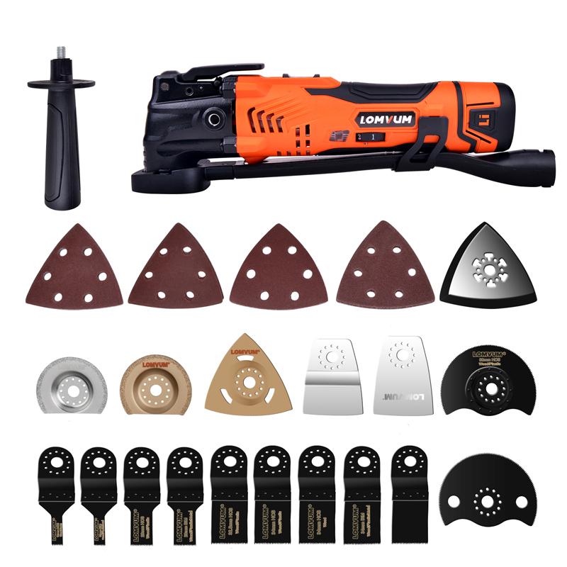 LOMVUM 300W Power Renovator Cordless Oscillating Woodworking Tools DIY Home Variable Speed Multi Cutter Electric Trimmer Blade