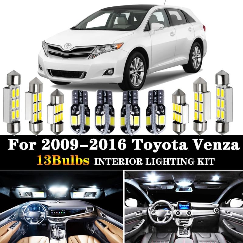 13 шт. автомобильные аксессуары, белый светодиодный светильник для салона, лампы, посылка в комплекте для 2009-2016 Toyota Venza T10 31 мм, карта, купольна...