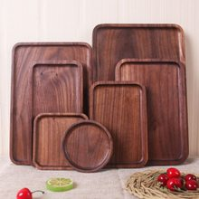 G Черные Деревянные Подносы для хранения ореха посуда круглый