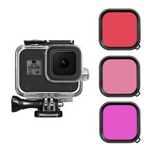 For Gopro 8 waterproof case filter Diving swimming Protective Shell Purple Pink Red len Filter For GoPro Hero 8 Action Camera(China)