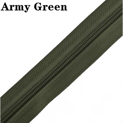 5 м длинная молния нейлон 3# пододеяльник подушка одеяло невидимая молния двойная молния черный и белый - Цвет: ArmyGreen