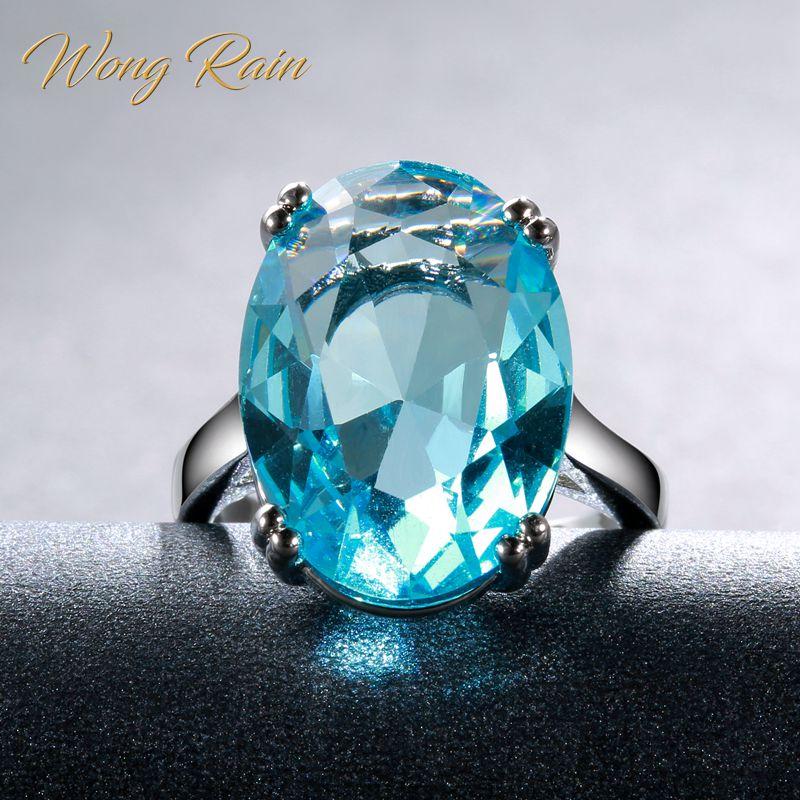 Wong Rain Classic 100% 925 Sterling Silver Oval Aquamarine Gemstone Engagement Wedding White Gold Rings Fine Jewelry Wholesale