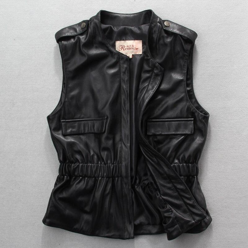 Free Shipping, New Style Genuine Sheepskin Leather Women Vest.fashion Slim Woman Vests,sleeveless Leather Jacket,sales