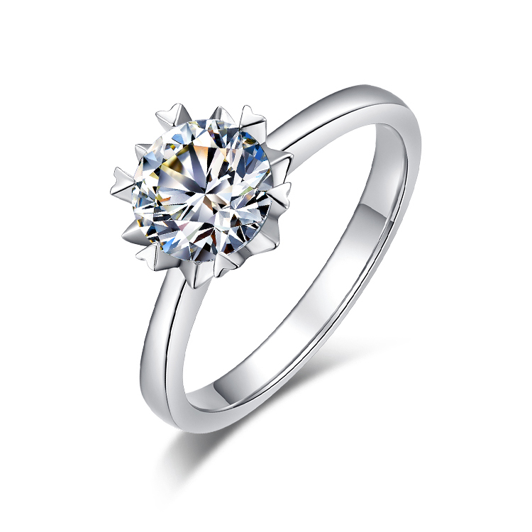 Image 3 - BOEYCJR 925 Silver Snowflake 0.5ct/1ct F color Moissanite VVS   Engagement Wedding Ring With national certificate for WomenRings   -