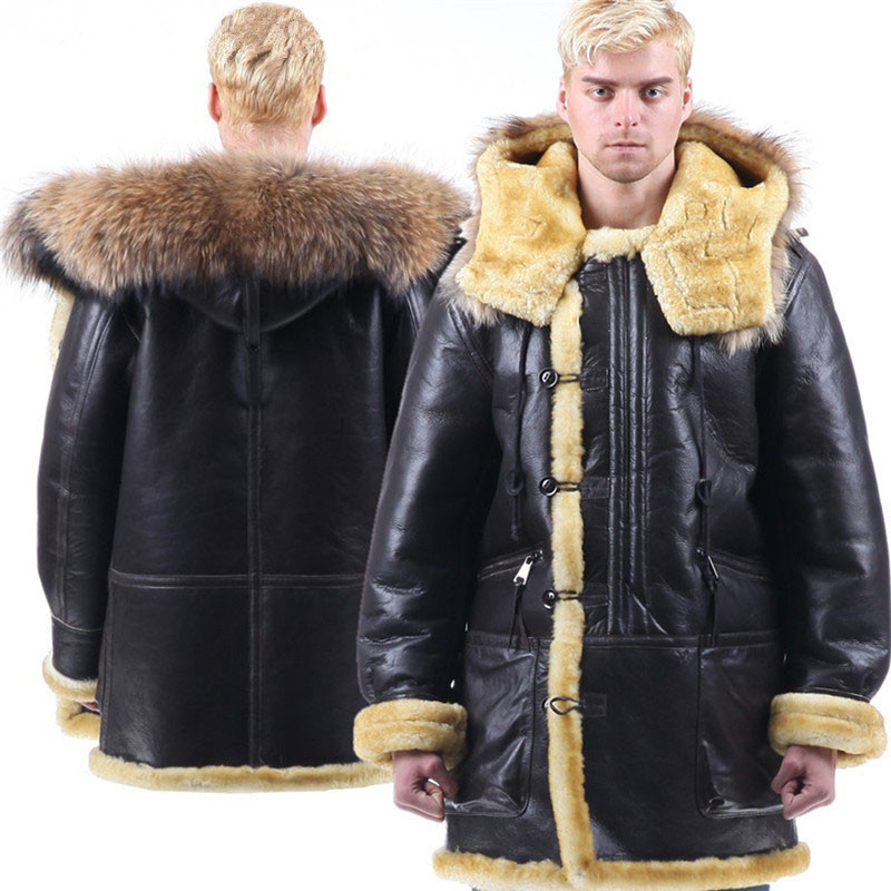 Men Genuine Leather Jacket Sheepskin Coat Fur Collar Hooded Mens Winter Coldproof Coats Fur One Piece Outerwear Original Ecology