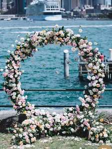 Image 5 - Wedding arch wrought iron round ring arch artificial flower decor birthday party celebration wedding props flower stand shelf