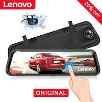 """Original Lenovo 10 """"Dash Cam rétroviseur caméra Streaming médias plein écran toucher double lentille Vision nocturne Dashcam voiture DVRs"""