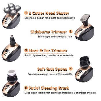 5 In 1 4D Men's Rechargeable Bald Head Electric Shaver 5 Floating Heads Beard Nose Ear Hair Trimmer Razor Clipper Facial Brush 6
