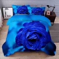 WOSTAR Home textilien könig größe bettwäsche set 3d digitaldruck blau rose hause bettwäsche set bettlaken duvet abdeckung kissen fall