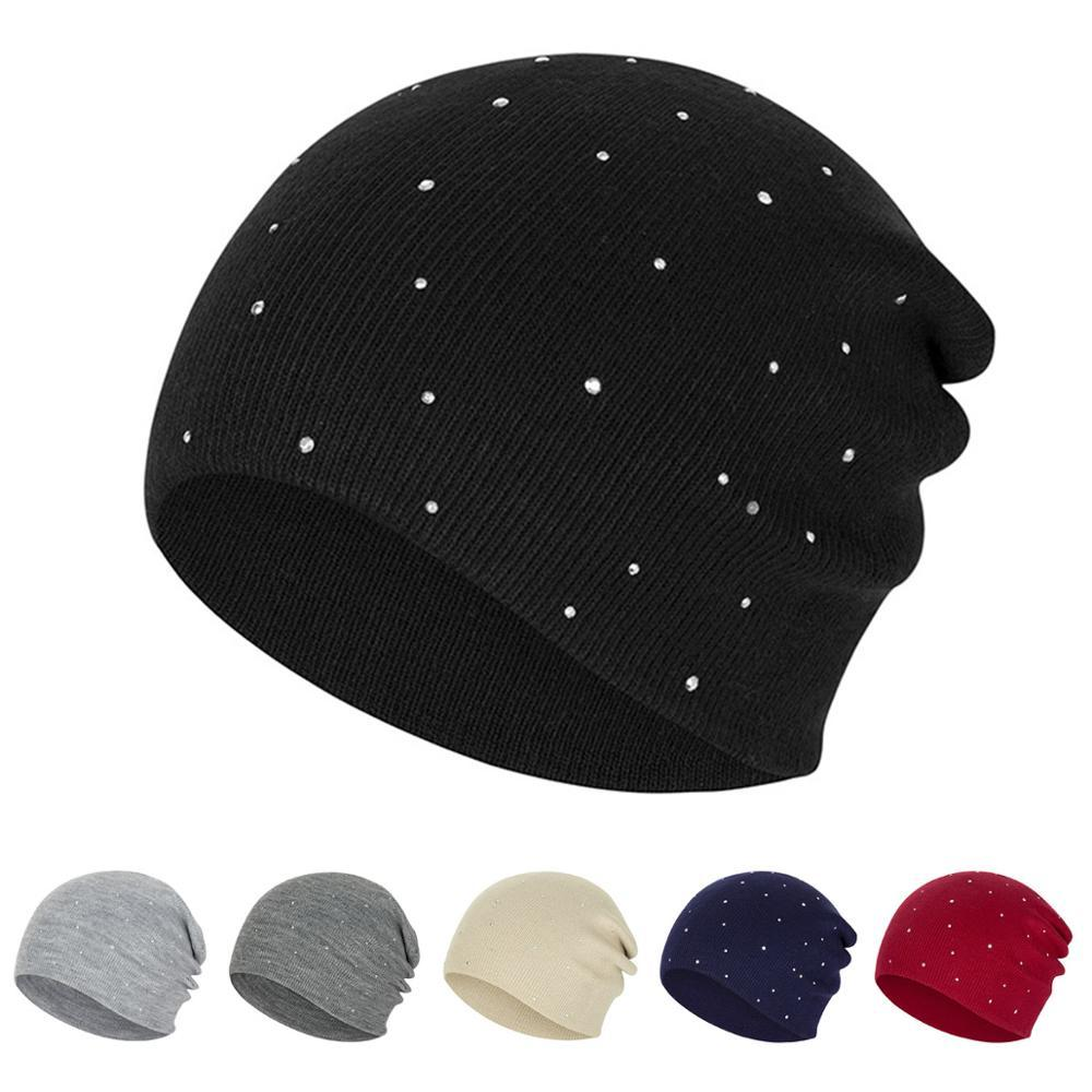 New Pearl Winter Skullies Beanies Hat Women Solid Color Knitted Cotton Female Winter Beanies Caps Soft Warm Hats Ladies Bonnet40
