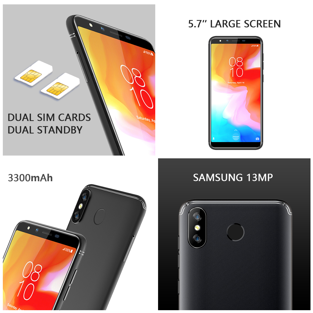 Global version HOMTOM H5 360 OS Android8.1Mobile Phone 3GB+32GB 3300mAh 5.7 Face ID 13MP MT6739 Quad Core 4G FDD LTE Smartphone - 3