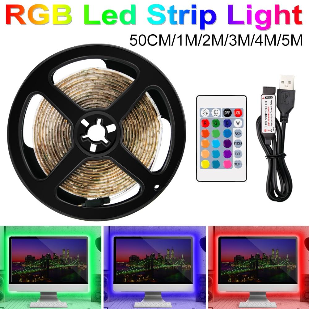Tira de luces Led RGB, cinta de lámpara RGBW de 5V, luz de fondo de TV USB, tira de neón blanca, banda RGB 0,5, 1, 2, 3, 4, 5m