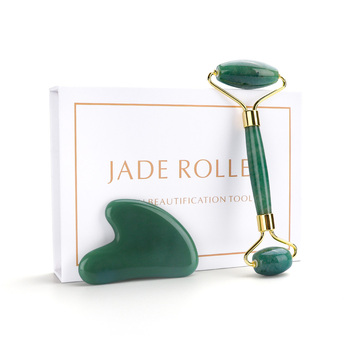 Jade Roller and Gua Sha Tools Set 100% Real Natural Nephrite for Face Eye Neck Anti Aging Facial Massage