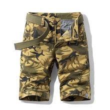 2021 novos calções de verão dos homens de alta qualidade algodão shorts macacão multi-bolso calças camuflagem shorts dos homens calções militares 1121