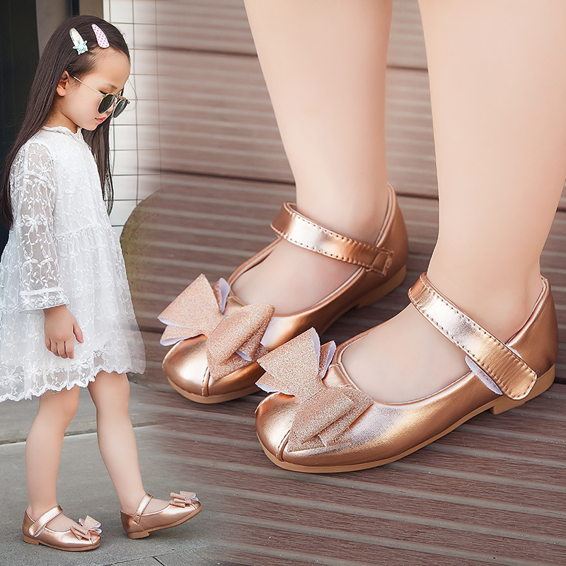 Girls Shoes Fashion Princess Butterfly-knot Dress Shoes Gold Girls Bling Leather Flats School Dance Party Sandals Soft Footwear