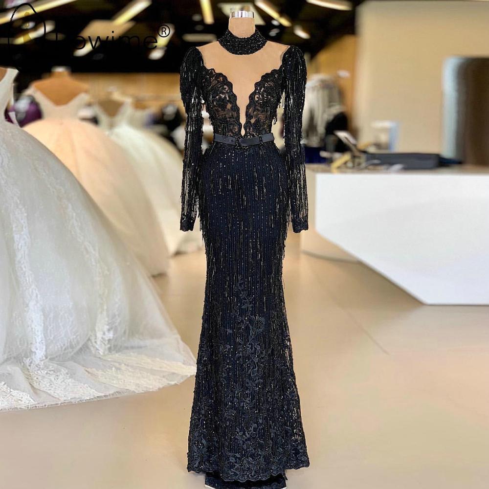Black Illusion High Neck Long Sleeve Evening Dresses Beading Dubai Floor Length Robe De Soiree Prom Party Dresses