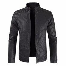גברים סתיו אופנה מזדמן אופנוע עור מפוצל מעיל מעיל גברים פו עור Jaqueta דה Couro Masculina עור מעיל מעילי גברים